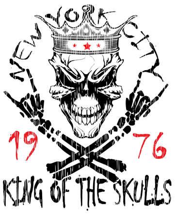 Skull and crossbones  a mark of the danger warning  T-shirt graphics  super skull illustration Vector