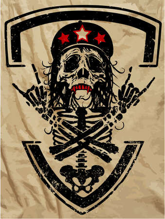 Skull and crossbones  a mark of the danger warning  T-shirt graphics  super skull illustration