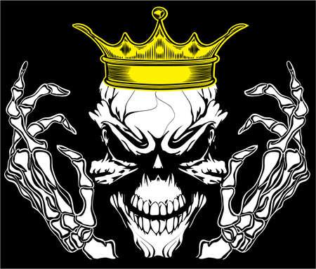 Skull King Poster Vintage Man T shirt Graphic Vector Design Vector