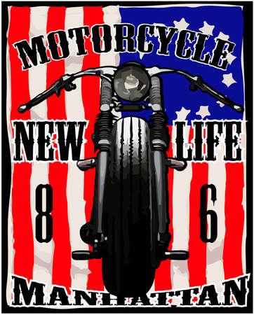 Bandera americana de la motocicleta T-shirt Carrera Vintage Graphic Foto de archivo - 32485622