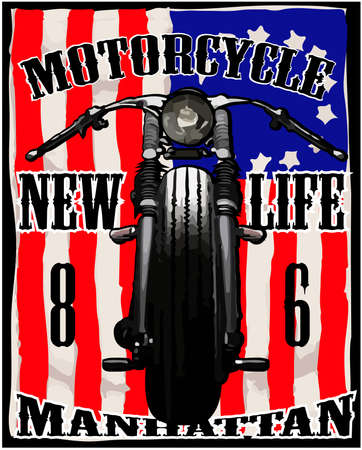 Motorcycle American Flag T-shirt Graphic Vintage Race Vector