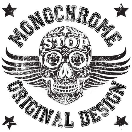 Skull Monochrome College Man Boy T shirt Design Vector