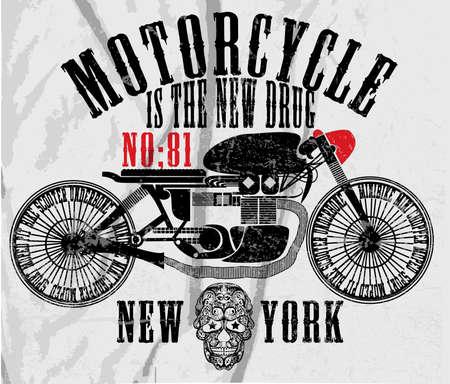 Vintage Motorbike Race Hand drawing T-shirt Printing Vector