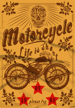 Motorcycle Skull Vintage Old T shirt Design Иллюстрация