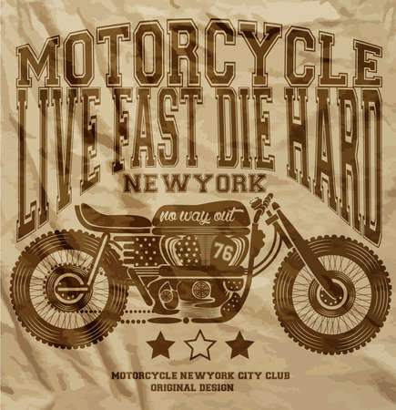 Motorcycle Vintage New York T shirt Graphic Design Иллюстрация