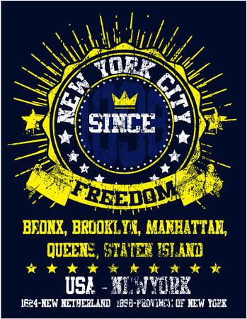 athletic wear: New York City Man College T shirt Graphic Design