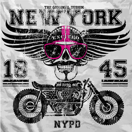 new motor vehicles: Motorcycle Skull New York Fun Man T shirt Graphic Design Illustration