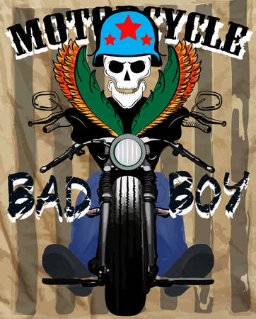 Motorcycle Club Race Poster Man Graphic Vector Design Vector