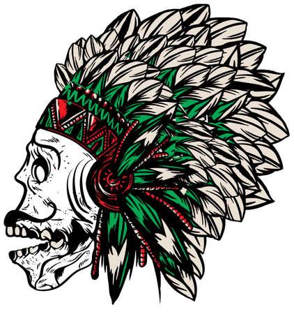 chieftain: Skull Indian Fun Man T shirt Graphic Vector Design