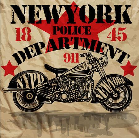 Motorcycle New York Fun Man T shirt Graphic Design Vector