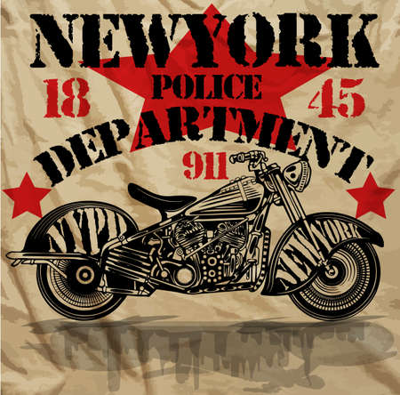 a white police motorcycle: Motorcycle New York Fun Man T shirt Graphic Design