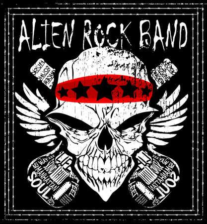 t shirt design: Skull Rock n roll band music vector man t shirt design