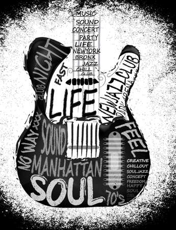 soul music: Vector Acoustic Guitar Icon