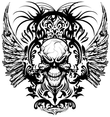 Skull T-shirt design Illustration