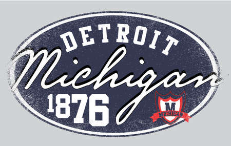 t shirt design: Michigan city college man t shirt design Illustration