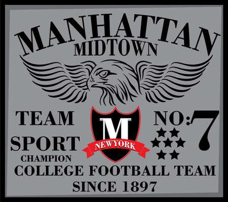 Newyork Ville Manhattan College homme conception de T-shirt