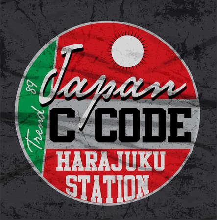 athletic wear: Japan Tokyo typography, t-shirt graphics, vectors