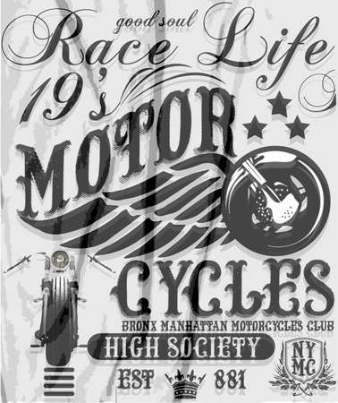 motorcycle racing: Motorcycle raceway typography, t-shirt graphics, vectors