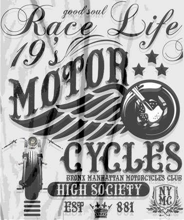 Motorcycle raceway typography, t-shirt graphics, vectors