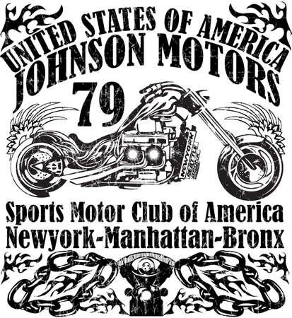 jinete: Ilustración del bosquejo de la motocicleta con las impresiones de la camiseta de gráficos vectoriales