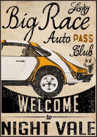 Vintage raceauto voor printing.vector oude school ras poster.retro raceauto set Stockfoto - 37361773