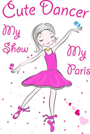 pies bailando: Ilustraci�n de un poco feliz Bailarina de hadas
