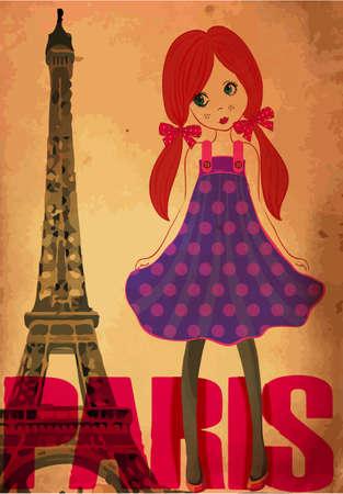 fashion cute girl  in paris Vector