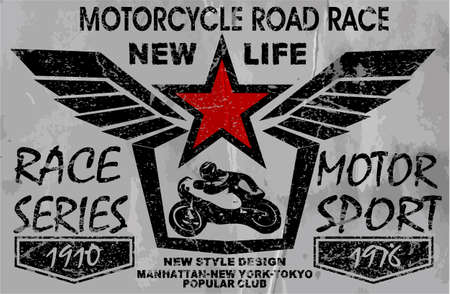 motorcycle racing: vintage motorcycle labels, badges and design elements
