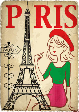 Shopping girl in Paris Vector