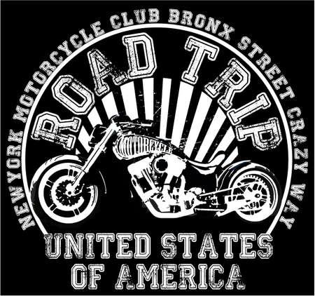 Motorcycle label t-shirt design met illustratie van aangepaste chopper
