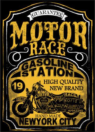 motor race: Motorcycle label t-shirt design met illustratie van aangepaste chopper