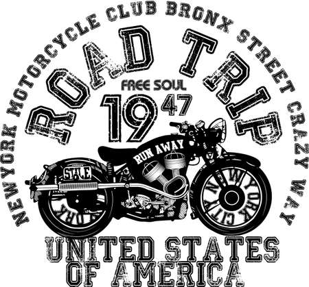 vehicle graphics: Vintage Motorcycle T-shirt Graphic