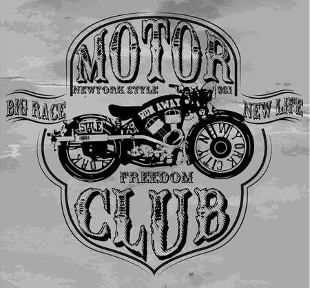 Vintage Motorcycle T-shirt Gráfico Foto de archivo - 39631021