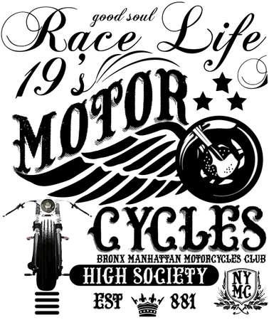 camisas: Vintage Motorcycle T-shirt Gráfico