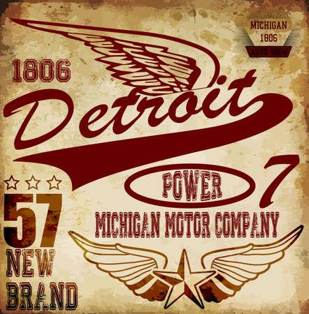 Hombre vintage camiseta de diseño gráfico sobre Detroit Foto de archivo - 39915059