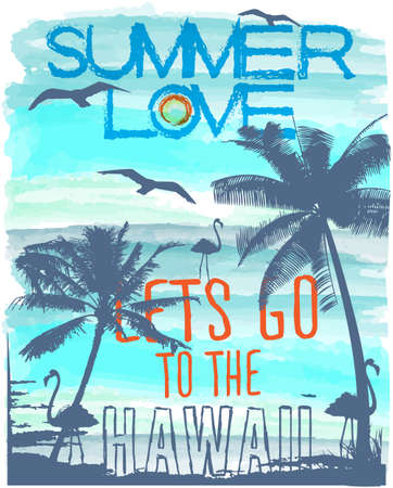 palmier: Coucher de soleil � Hawa� de plage tropicale