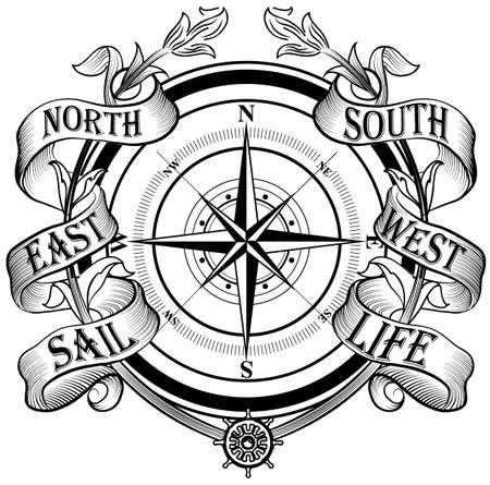old compass: Wind rose