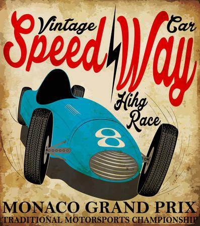 Coche de carreras del vintage para printing.vector vieja escuela conjunto poster.retro raza coche de carreras Foto de archivo - 40329776