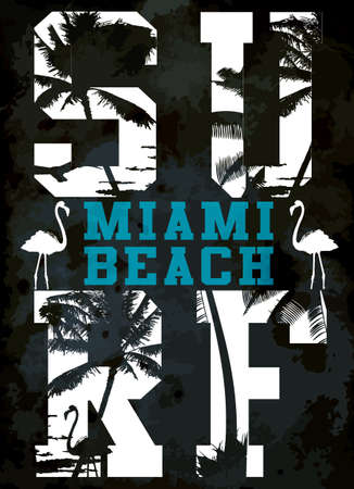 Surf typografie, t-shirt graphics, vectoren
