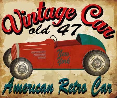 vintage raceauto voor printing.vector oude school ras poster.retro raceauto set