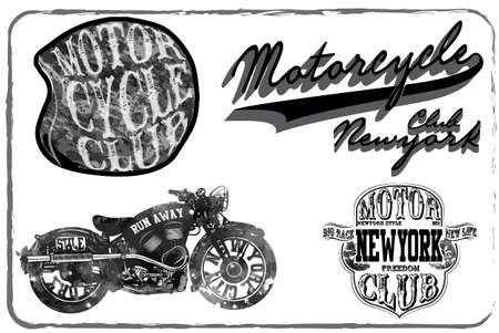 old motorcycle: Motorcycle Racing Typography Graphics and Poster. Skull and Old school bike. T-shirt Design, vector illustration