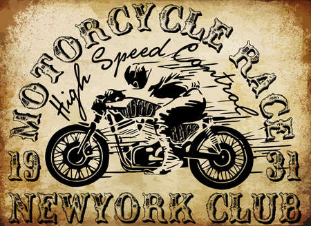 old school bike: Motorcycle Racing Typography Graphics and Poster. Skull and Old school bike. T-shirt Design, vector illustration