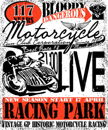 t background: Motorcycle Racing Typography Graphics and Poster. Skull and Old school bike. T-shirt Design, vector illustration