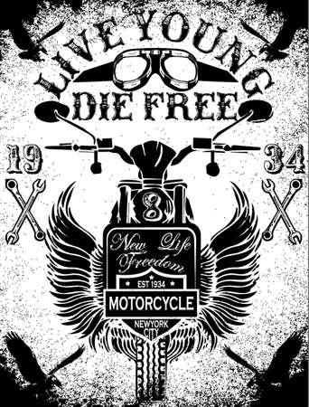 motor race: Motorcycle Racing Typografie Graphics en Poster. Schedel en Oude school fiets. T-shirt ontwerp, vector illustratie Stock Illustratie