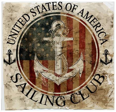 america: Newport sailing club, vector artwork for sportswear in custom colors Illustration