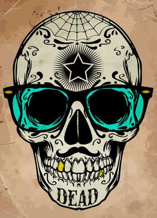 calavera: cráneo ilustración  a marca de la gráfica de advertencia de peligro  T-shirt  ejemplo fresco del cráneo