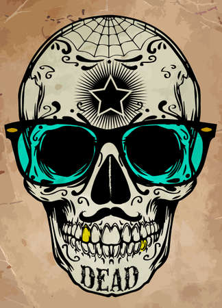 skull illustration / a mark of the danger warning / T-shirt graphics / cool skull illustration Иллюстрация