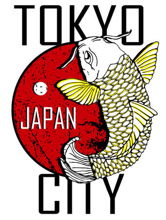 hokusai: Tokyo City and Gold Fish Poster Design Illustration