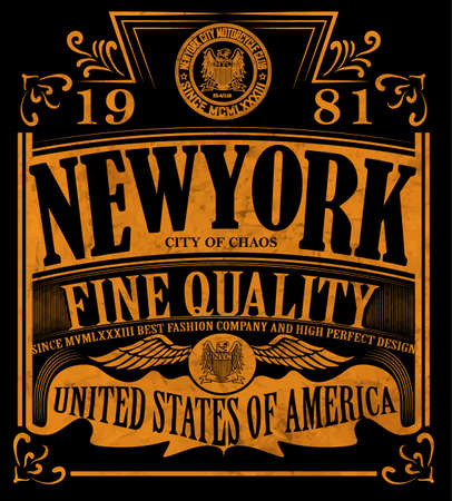 vintage retro frame: New york Vintage Slogan Man T shirt Graphic Vector Design