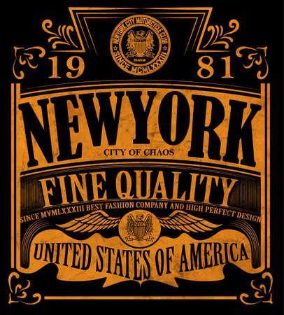 New York Vintage Slogan Man T-shirt Graphic Vector ontwerp